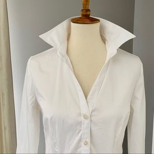 Banana Republic 3/4 sleeve fitted white shirt